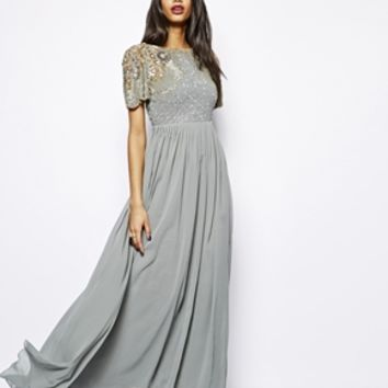 Virgos Lounge Raina Maxi Dress with Embellished Shoulder