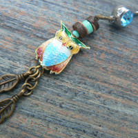 owl cloisonne  belly ring dark blue belly owl  owl jewelry in beach boho gypsy hippie belly dancer  fantasy beach hipster and fantasy style