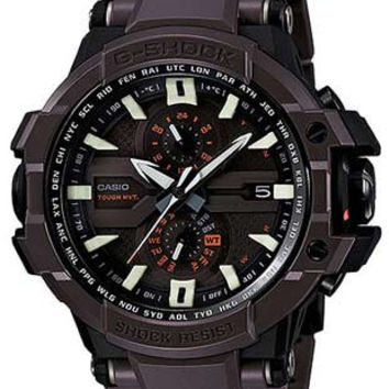 Casio G-Shock G-Aviation Mens Triple G Solar Atomic - Brown & Black Fine Resin