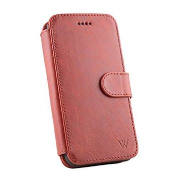 iPhone X Leather Wallet Detachable Phone Case | Magnetic Car Vent Mount Included | 100% Top Grain Cowhide Leather Wallet Case | Magnetic Locking System | Kickstand Feature | WILKEN | Red