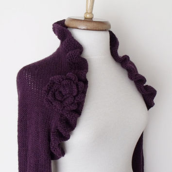 Purple Wedding Bridal Shrug long sleeves With Flower Brooches-Ready for shipping