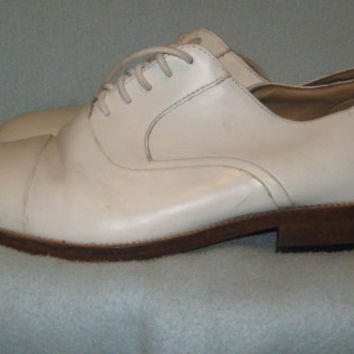 Vintage 80s Mens White Leather Giorgio Brutini Oxford Shoes - 7 D
