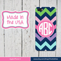 iPhone 5 Cell Phone Case Navy Chevron Stripe Circle Monogram Initials Apple Personalized Name Protective White Plastic Hard Cover VM-1014
