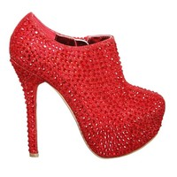 New Style! Platform Pump with Stiletto High Heel covered in Rhinestones