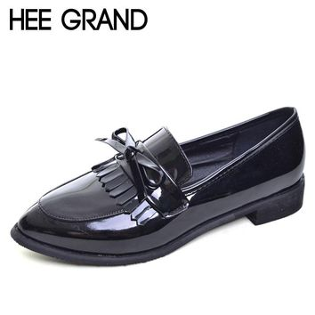 HEE GRAND 2017 Tassel Oxfords Patent PU Leather Brogue Shoes Woman Slip On Casual Creepers Pointed Toe Women Pumps Shoes XWD5149