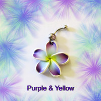 Belly Ring, Green, Blue, Or Purple Hawaiian Plumeria Flower, Belly button Navel Ring, Belly Button Jewelry For Women and Teens