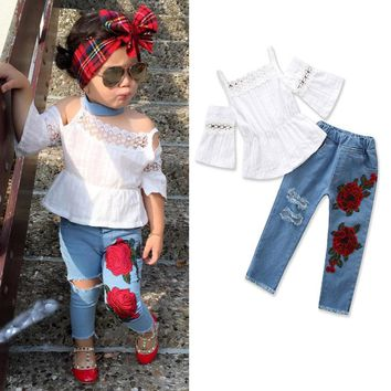 2018 Girls Strap Lace T-shirt Top+Embroidered Jeans Summer European Style Kids Clothes Fashion 1-5 Year Wear Girls Clothes Sets