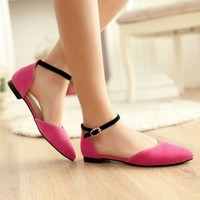 Women Sweey Candy Faux Suede Ankle Strap Pointed Toe Flat Casual Shoes Plus Size