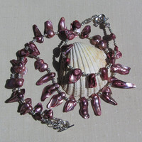 "Necklace & Bracelet Set - Cranberry Biwa Pearl and Sterling Silver - ""Vogue"""