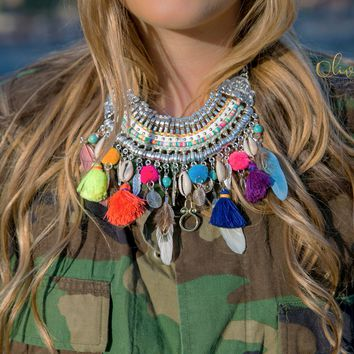 Statement Necklace Colorful Pom Fringe Boho Feather Bib Necklace