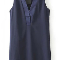 Navy Blue V-Neckline Sleeveless Shift Dress
