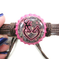 Camo Browning Buck and Doe Heart Bottlecap Adjustable by sydni1999