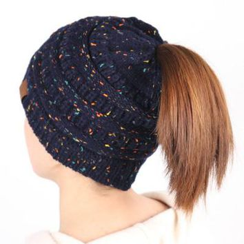 Ponytail Beanie Hat Crochet Knit Cap Winter Skullies Beanies