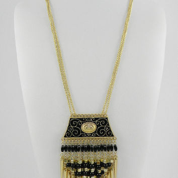Long Stella and Dot Style Black Gold Sunburst and Spikes Fringe Statement Necklace