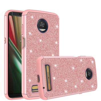 Motorola Moto Z3 Play Case, Moto Z3 Play Glitter Bling Heavy Duty Shock Proof Hybrid Case with [HD Screen Protector] Dual Layer Protective Phone Case Cover for Motorola Moto Z3 Play - Rose Gold