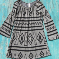 western aztec dress with bell sleeves | Elusive Cowgirl