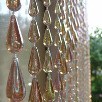Iridescent Brown Raindrop Beaded Curtain
