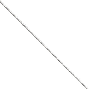 14k White Gold 2.75mm Wide Solid, Polished, Flat Figaro Chain Anklet Ankle Bracelet
