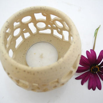 Pottery Candle Holder Ceramic Candle Lantern, Table Lighting Tea Lights