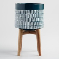 Dark Turquoise Ceramic Planter with Wood Stand