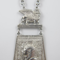 Vintage Egyptian Revival Necklace Sphinx King Tut Hieroglyphics Hinged Two Piece 1950s