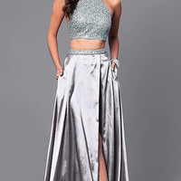 Two-Piece Halter Top Prom Dress with Mock Wrap Skirt