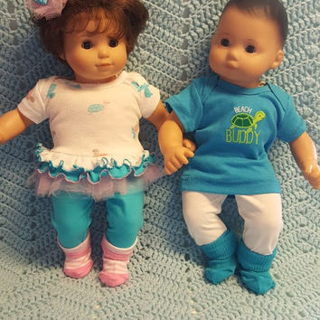 """Baby Doll Clothes Will fit Bitty Baby® """"Turtle Tots"""" (15 inch) Boy and Girl Twins Set doll outfits P9"""
