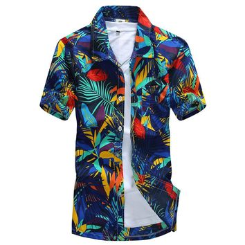 Hot style Brand Summer Hawaiian Men's Hawaii Beach Surf Shirt chemise homme Coconut Palm prints Sports Shirts Asian Size L-4XL