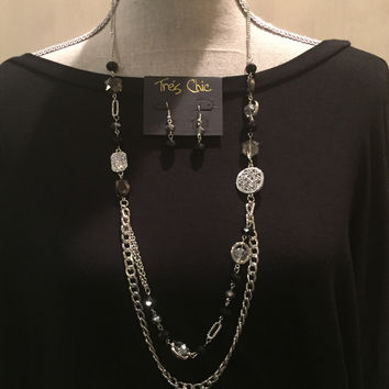 Silver and Black Necklace/Earrings Set