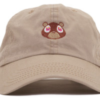 Beige Kanye West Bear Embroidered Cotton Hat Baseball Cap