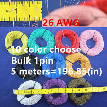 Bulk 1pin 5 metres super flexible 26AWG PVC insulated  Wire Electric cable, LED cable, DIY Connect 11 color choose