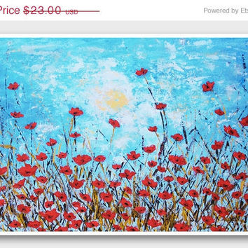 ON SALE Red Poppy Painting Print Blue and red abstract modern floral landscape painting reproduction poppies flowers Home decor wall art A3