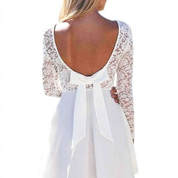 White Long Sleeve Bow Lace Skater Mini Dress