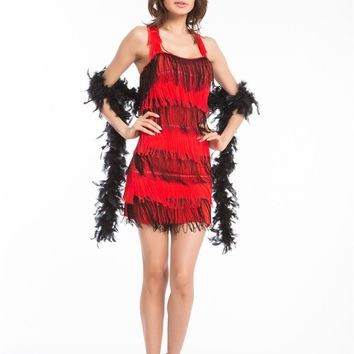 Flapper 1920's Chicago Gangster  1920s Roaring 20s Black Red Flapper Charleston