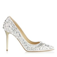 Chalk Nappa Pointy Toe Pumps with Crystals | Cruise 2013 | JIMMY CHOO Shoes