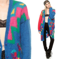 Long Cardigan MOHAIR Sweater Bright Geometric Crazy WOOL Rainbow 80s New Wave Zig Zag 1980s Oversized Vintage Diamond Small Medium Large