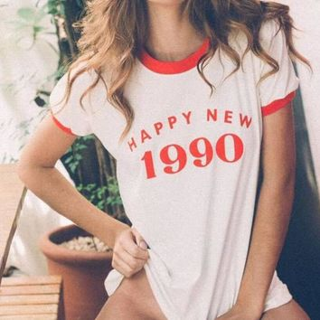HAPPY NEW 1990 Red Letter Printed T-Shirt Fashion Tumblr Casual Girl Tee High Quality Cotton T Shirt Women Hipster tshirt S-3XL