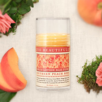 SALE - Southern Peach Rose Lotion Bar - Earthy Floral and Sweet Peach - All Natural Lotion Bar Tube