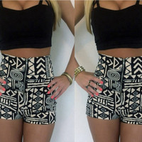7165489 Black Tops Printed waist shorts two-piece suit