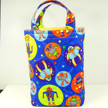 Insulated Lunch Bag Eco-friendly Reusable Lunch Tote PICK your FABRICS Back to school Pouch Sack Space Robots Blue Kid Boy - Sac isolant