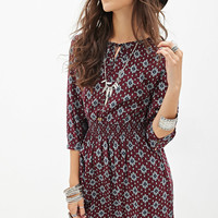 Abstract Print Peasant Dress