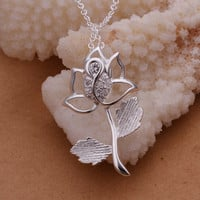 Valentine Rose  Silver Necklace