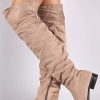 Suede Slouchy Back Slit Over-The-Knee Riding Boots