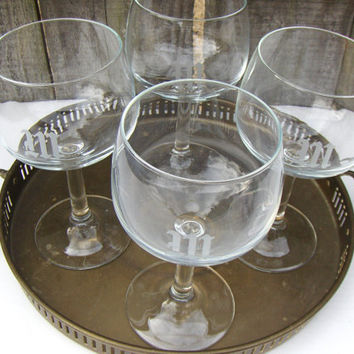 Vintage W Monogrammed Wine Glasses Balloon Glassware