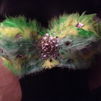 Neon Feather Highlight Rave Bra Corest Bustier Lion Rhinestone Top