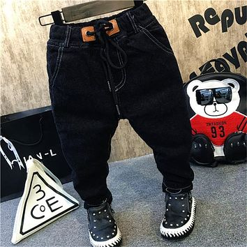 2017 New boys kids winter jeans thick warm velvet casual denim pant children boy pants