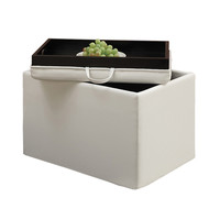 Convenience Concepts 143523W Designs4Comfort Ivory Accent Storage Ottoman with Tray Top