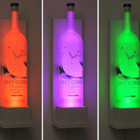 Grey Goose Vodka Wall Mount Color Changing LED Remote Controlled Eco Friendly rgb LED Bottle Lamp/Bar Light - Sconce -Bodacious Bottles-