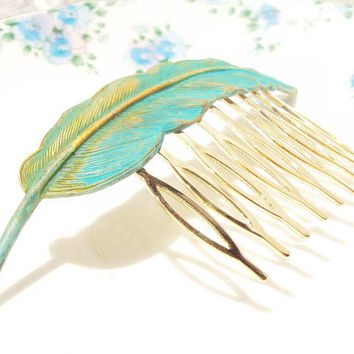 Large Gold Verdigris Feather Hair Comb - Woodland Collection - Whimsical - Nature - Bridal - Patina