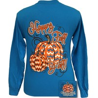 Girlie Girl Originals Happy Fall Yall Chevron Pumpkin Halloween Long Sleeve Bright T Shirt
